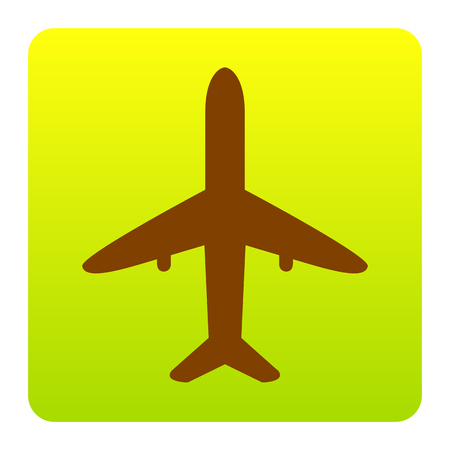 Airplane sign illustration. Vector. Brown icon at green-yellow gradient square with rounded corners on white background. Isolated.