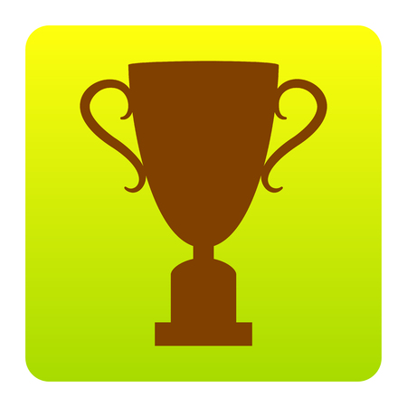Champions Cup sign. Vector. Brown icon at green-yellow gradient square with rounded corners on white background. Isolated. Illustration