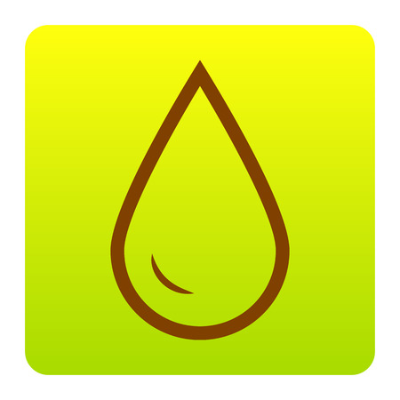 Drop of water sign. Vector. Brown icon at green-yellow gradient square with rounded corners on white background. Isolated.