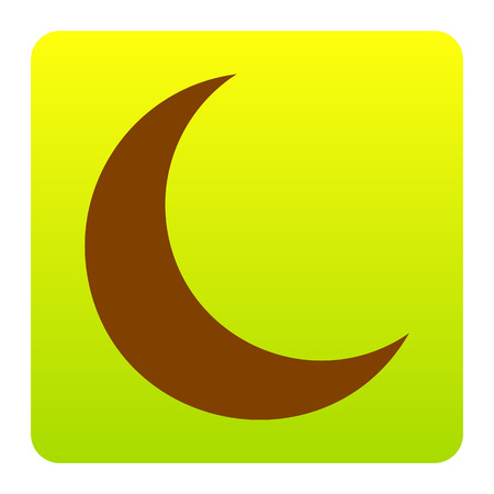Moon sign illustration. Vector. Brown icon at green-yellow gradient square with rounded corners on white background. Isolated. Illustration