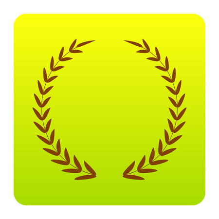 Laurel Wreath sign. Vector. Brown icon at green-yellow gradient square with rounded corners on white background. Isolated. Illustration