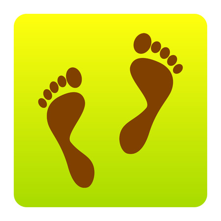 alibi: Foot prints sign. Vector. Brown icon at green-yellow gradient square with rounded corners on white background. Isolated.