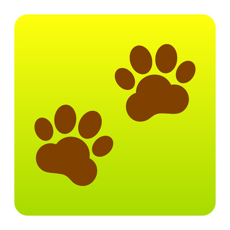 Animal Tracks sign. Vector. Brown icon at green-yellow gradient square with rounded corners on white background. Isolated. Illustration