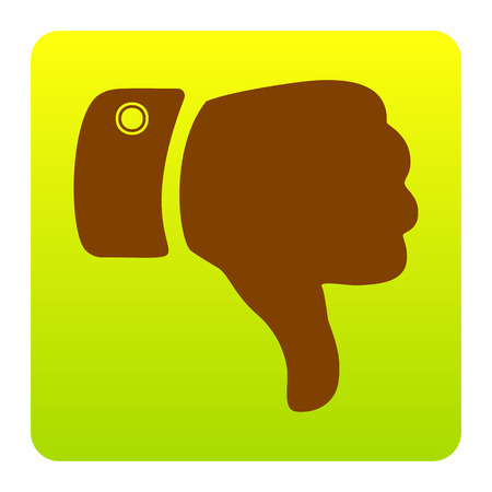 disapprove: Hand sign illustration. Vector. Brown icon at green-yellow gradient square with rounded corners on white background. Isolated. Illustration