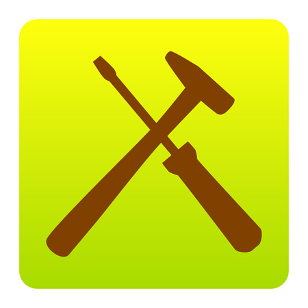 Tools sign illustration. Vector. Brown icon at green-yellow gradient square with rounded corners on white background. Isolated.