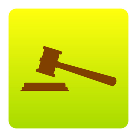 Justice hammer sign. Vector. Brown icon at green-yellow gradient square with rounded corners on white background. Isolated. Illustration