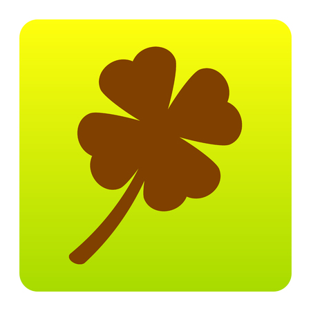 Leaf clover sign. Vector. Brown icon at green-yellow gradient square with rounded corners on white background. Isolated.