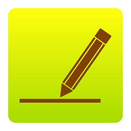 Pencil sign illustration. Vector. Brown icon at green-yellow gradient square with rounded corners on white background. Isolated.