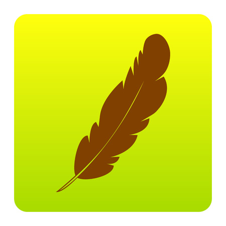 poet: Feather sign illustration. Vector. Brown icon at green-yellow gradient square with rounded corners on white background. Isolated.