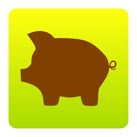 Pig money bank sign. Vector. Brown icon at green-yellow gradient square with rounded corners on white background. Isolated.