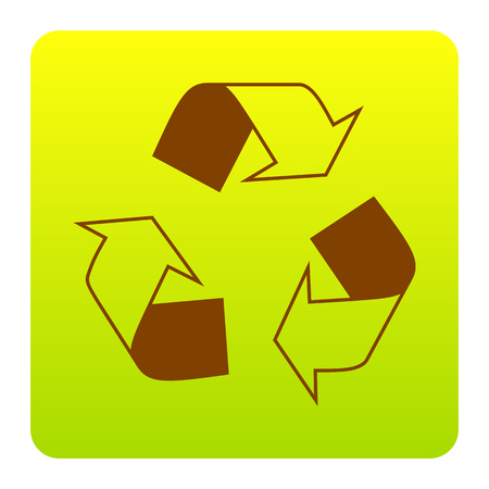 Recycle logo concept. Vector. Brown icon at green-yellow gradient square with rounded corners on white background. Isolated. Ilustrace
