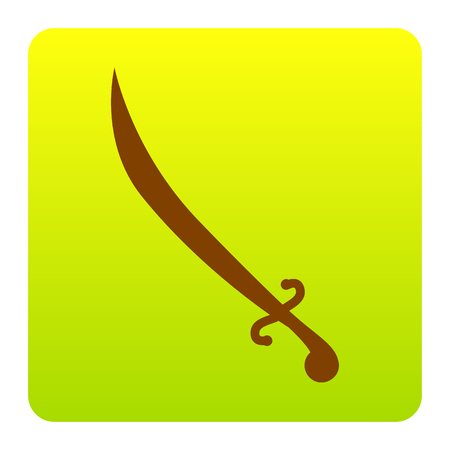 Sword sign illustration. Vector. Brown icon at green-yellow gradient square with rounded corners on white background. Isolated. Illustration