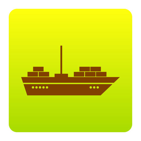 Ship sign illustration. Vector. Brown icon at green-yellow gradient square with rounded corners on white background. Isolated.
