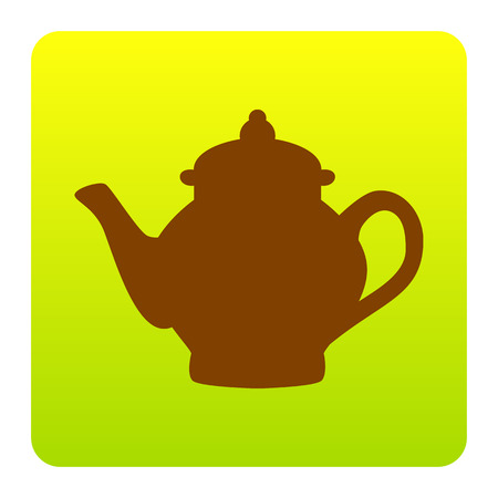 Tea maker sign. Vector. Brown icon at green-yellow gradient square with rounded corners on white background. Isolated.