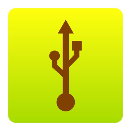 USB sign illustration. Vector. Brown icon at green-yellow gradient square with rounded corners on white background. Isolated.