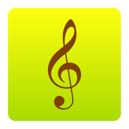 g clef: Music violin clef sign. G-clef. Treble clef. Vector. Brown icon at green-yellow gradient square with rounded corners on white background. Isolated.