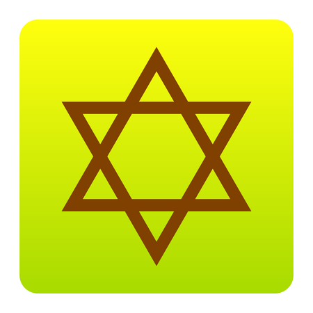 chanukkah: Shield Magen David Star. Symbol of Israel. Vector. Brown icon at green-yellow gradient square with rounded corners on white background. Isolated. Illustration
