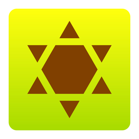 Shield Magen David Star Inverse. Symbol of Israel inverted. Vector. Brown icon at green-yellow gradient square with rounded corners on white background. Isolated.
