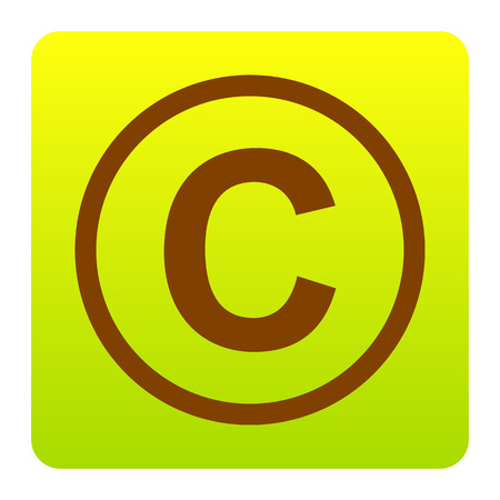 conventions: Copyright sign illustration. Vector. Brown icon at green-yellow gradient square with rounded corners on white background. Isolated.