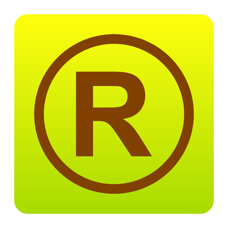 Registered Trademark sign. Vector. Brown icon at green-yellow gradient square with rounded corners on white background. Isolated.