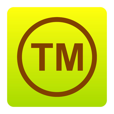 Trade mark sign. Vector. Brown icon at green-yellow gradient square with rounded corners on white background. Isolated.