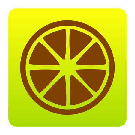 Fruits lemon sign. Vector. Brown icon at green-yellow gradient square with rounded corners on white background. Isolated.