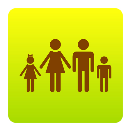 Family sign illustration. Vector. Brown icon at green-yellow gradient square with rounded corners on white background. Isolated. Illustration
