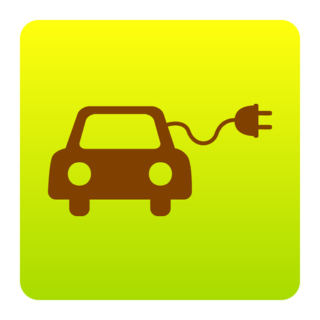 echnology: Eco electric car sign. Vector. Brown icon at green-yellow gradient square with rounded corners on white background. Isolated.