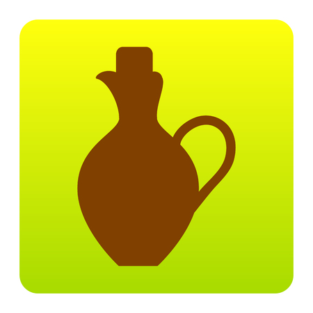 greek pot: Amphora sign illustration. Vector. Brown icon at green-yellow gradient square with rounded corners on white background. Isolated. Vettoriali