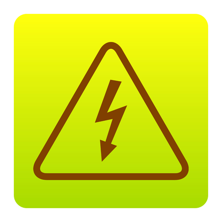volte: High voltage danger sign. Vector. Brown icon at green-yellow gradient square with rounded corners on white background. Isolated.