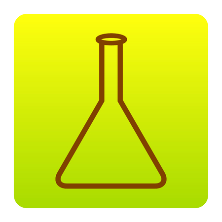 Conical Flask sign. Vector. Brown icon at green-yellow gradient square with rounded corners on white background. Isolated. Illustration