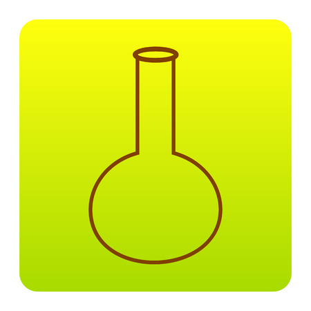 Tube. Laboratory glass sign. Vector. Brown icon at green-yellow gradient square with rounded corners on white background. Isolated.