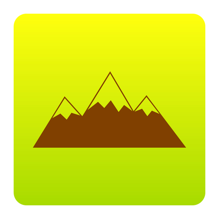 Mountain sign illustration. Vector. Brown icon at green-yellow gradient square with rounded corners on white background. Isolated. Illustration