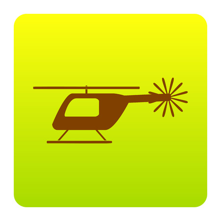 Helicopter sign illustration. Vector. Brown icon at green-yellow gradient square with rounded corners on white background. Isolated. Illustration