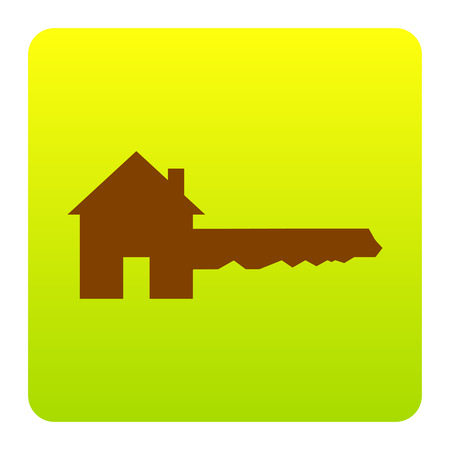 Home Key sign. Vector. Brown icon at green-yellow gradient square with rounded corners on white background. Isolated.