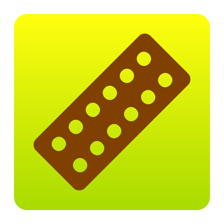 Medical Pills sign. Vector. Brown icon at green-yellow gradient square with rounded corners on white background. Isolated.