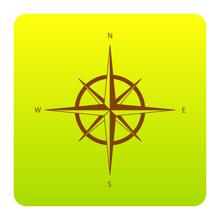 Wind rose sign. Vector. Brown icon at green-yellow gradient square with rounded corners on white background. Isolated.