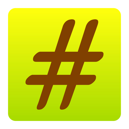 Hashtag sign illustration. Vector. Brown icon at green-yellow gradient square with rounded corners on white background. Isolated.