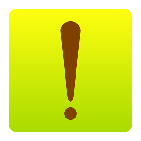 dangerous construction: Attention sign illustration. Vector. Brown icon at green-yellow gradient square with rounded corners on white background. Isolated. Illustration