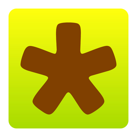 Asterisk star sign. Vector. Brown icon at green-yellow gradient square with rounded corners on white background. Isolated. Иллюстрация