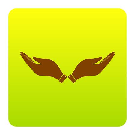 Illustration de signe de main. Vecteur. Icône marron au carré dégradé vert-jaune avec des coins arrondis sur fond blanc. Isolé. Banque d'images - 73342018