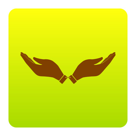 Hand sign illustration. Vector. Brown icon at green-yellow gradient square with rounded corners on white background. Isolated. Illustration