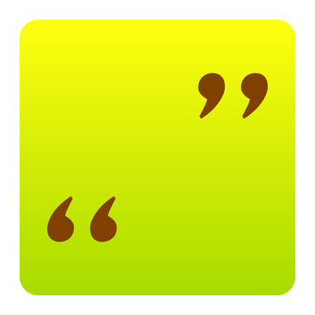 Quote sign illustration. Vector. Brown icon at green-yellow gradient square with rounded corners on white background. Isolated. Illustration