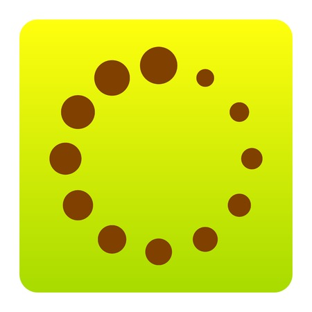 Circular loading sign. Vector. Brown icon at green-yellow gradient square with rounded corners on white background. Isolated.