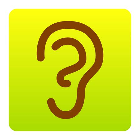 audible: Human ear sign. Vector. Brown icon at green-yellow gradient square with rounded corners on white background. Isolated.