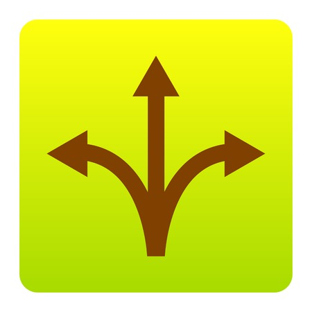 Three-way direction arrow sign. Vector. Brown icon at green-yellow gradient square with rounded corners on white background. Isolated.