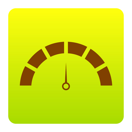 Speedometer sign illustration. Vector. Brown icon at green-yellow gradient square with rounded corners on white background. Isolated.