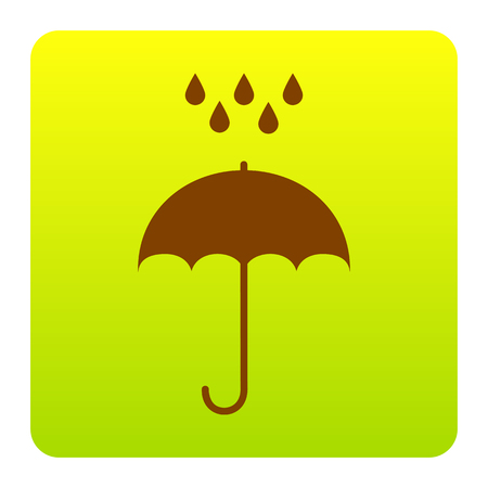 Umbrella with water drops. Rain protection symbol. Flat design style. Vector. Brown icon at green-yellow gradient square with rounded corners on white background. Isolated.