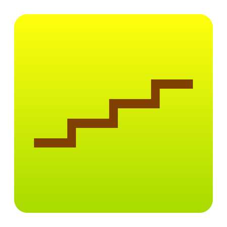 Stair up sign. Vector. Brown icon at green-yellow gradient square with rounded corners on white background. Isolated.