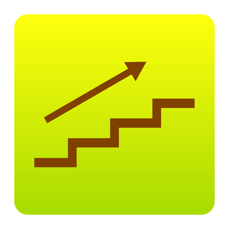 Stair with arrow. Vector. Brown icon at green-yellow gradient square with rounded corners on white background. Isolated. Illustration